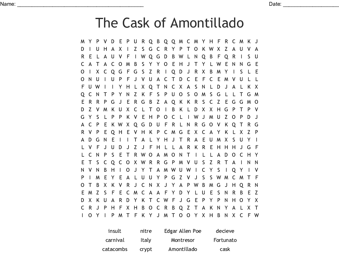 The Cask Of Amontillado Word Search