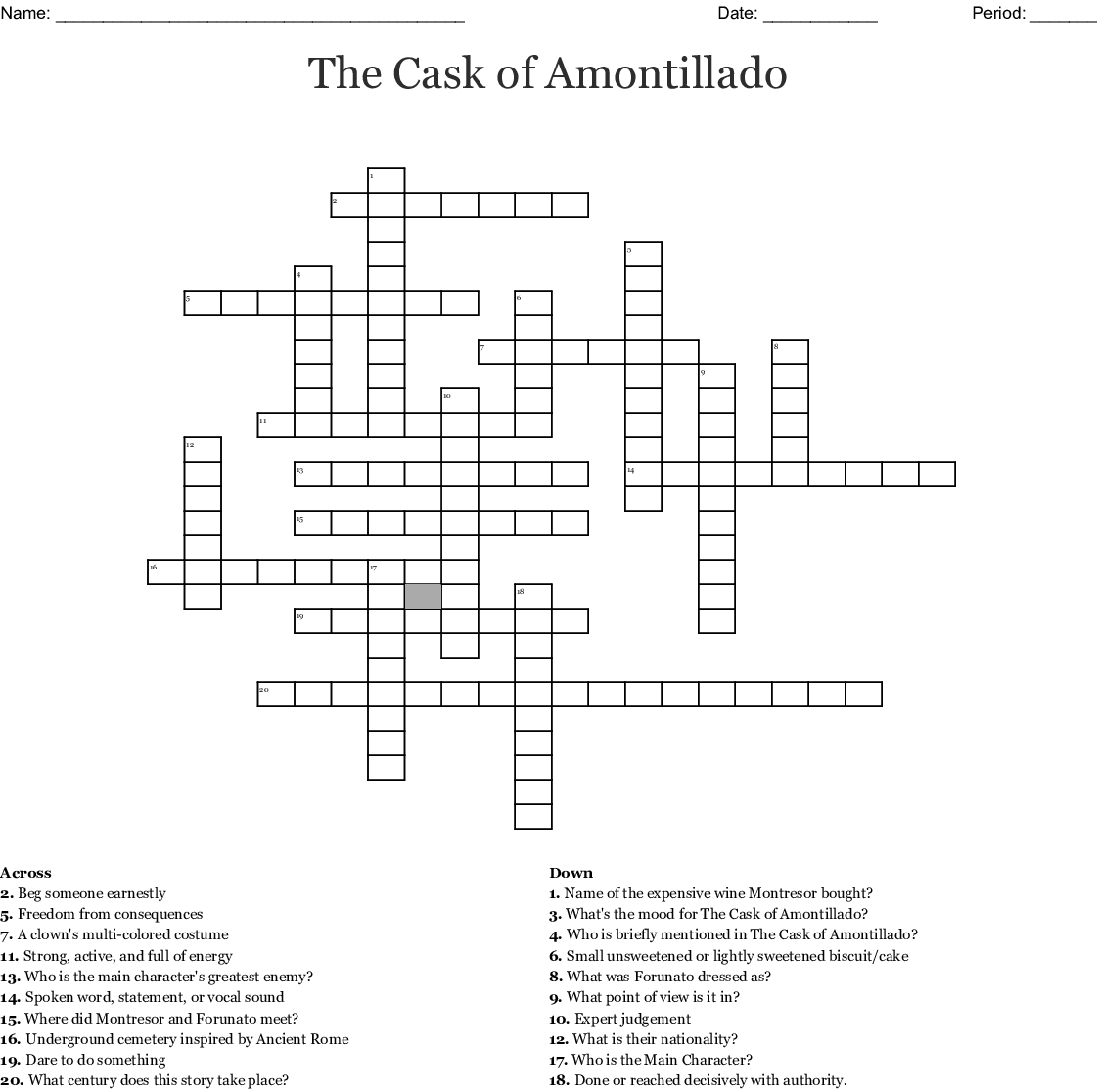 the cask of amontillado story diagram how to create a site map crossword wordmint