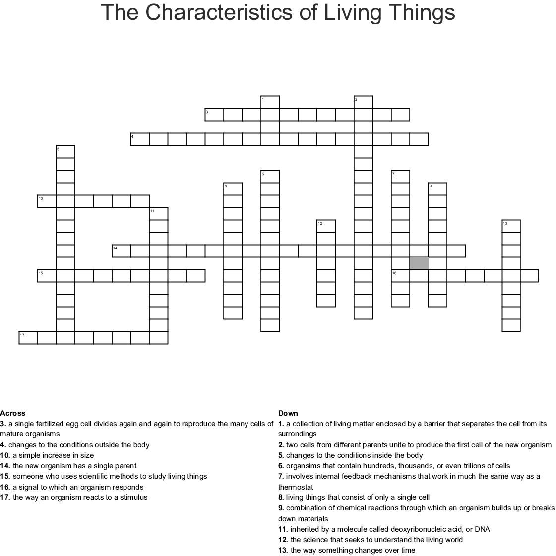 The Characteristics Of Living Things Crossword