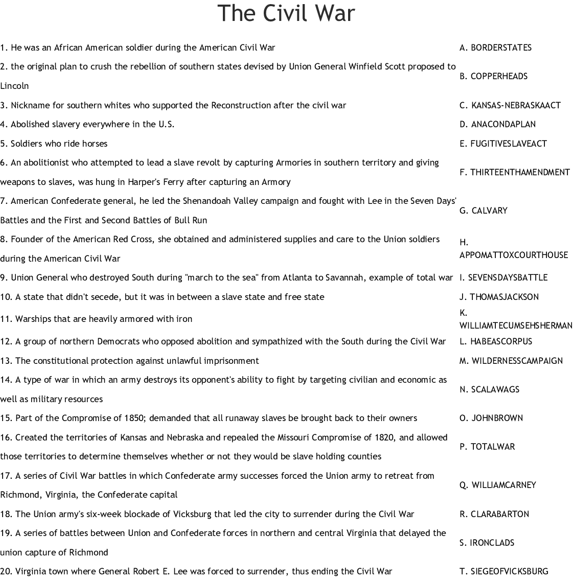 The Civil War Worksheet