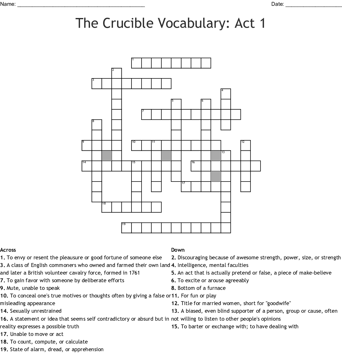 The Crucible Vocabulary Act 1 Worksheet Answers