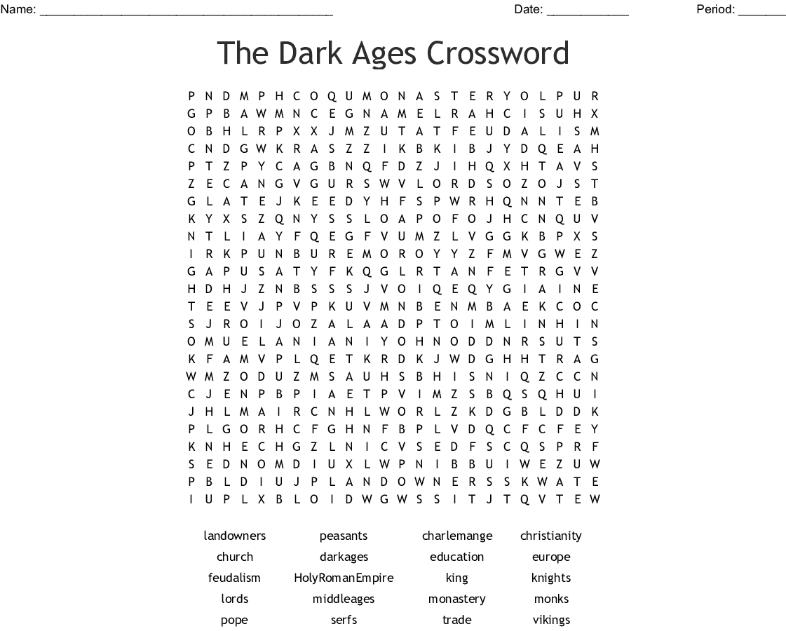 The Dark Ages Crossword Word Search