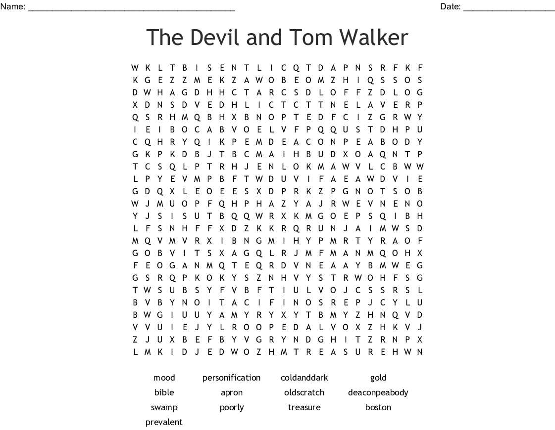 The Devil And Tom Walker Word Search