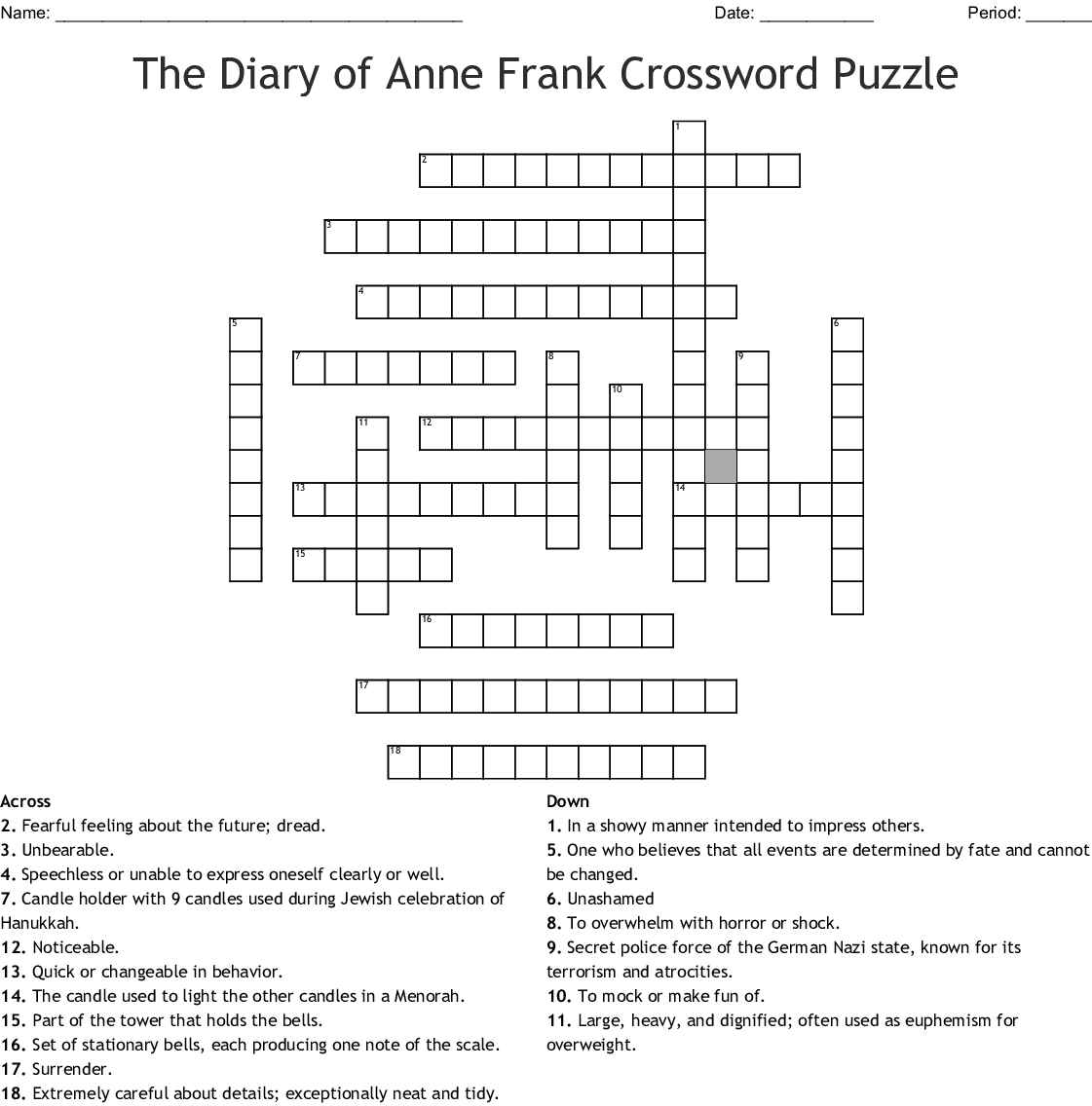 The Diary Of Anne Frank Worksheets