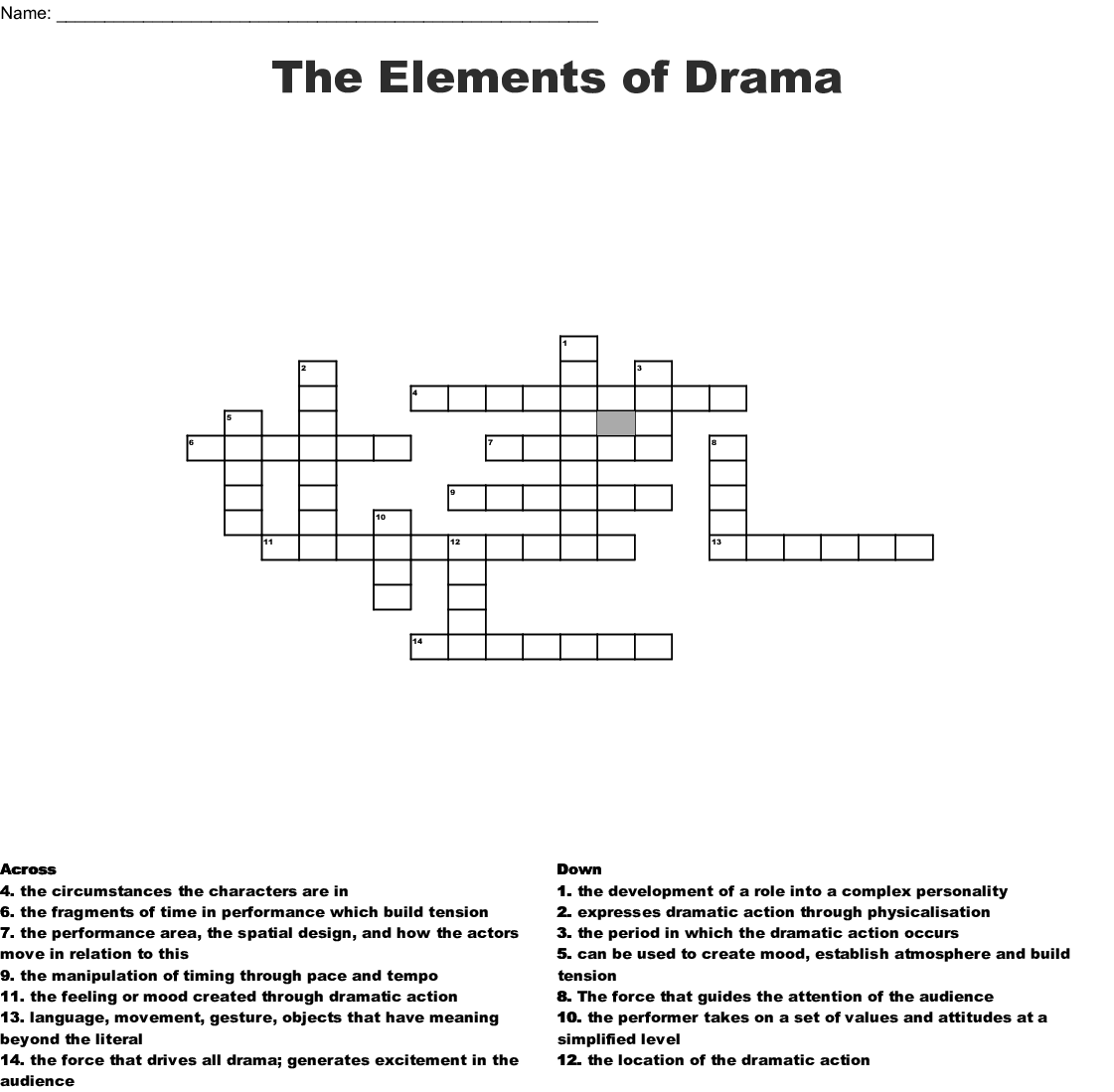 Drama Word Search