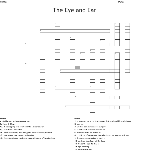 small resolution of the eye and ear crossword