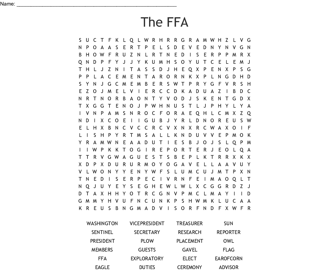 Agriculture Vocabulary Word Search