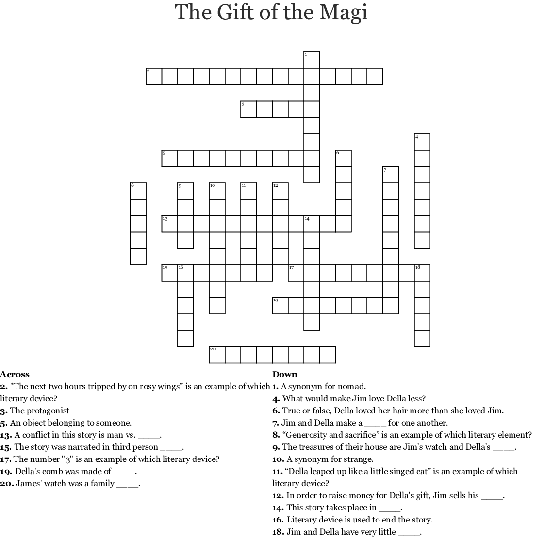The T Of The Magi Crossword