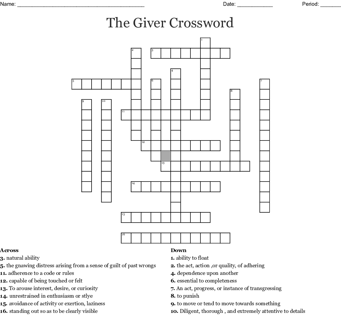 The Giver Chapters 6 8 Vocabulary Crossword
