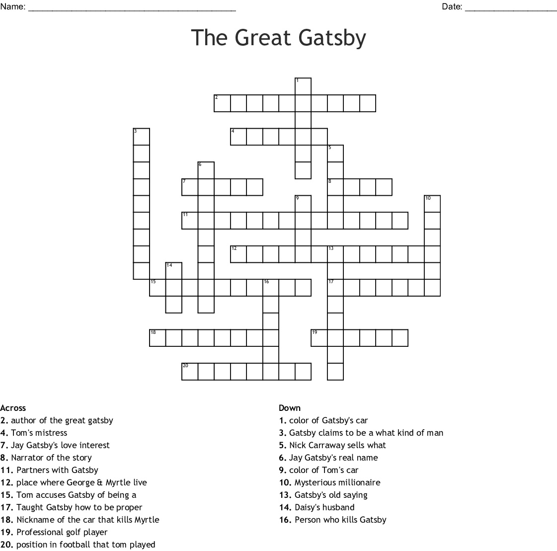 The Great Gatsby Character Worksheet Answers