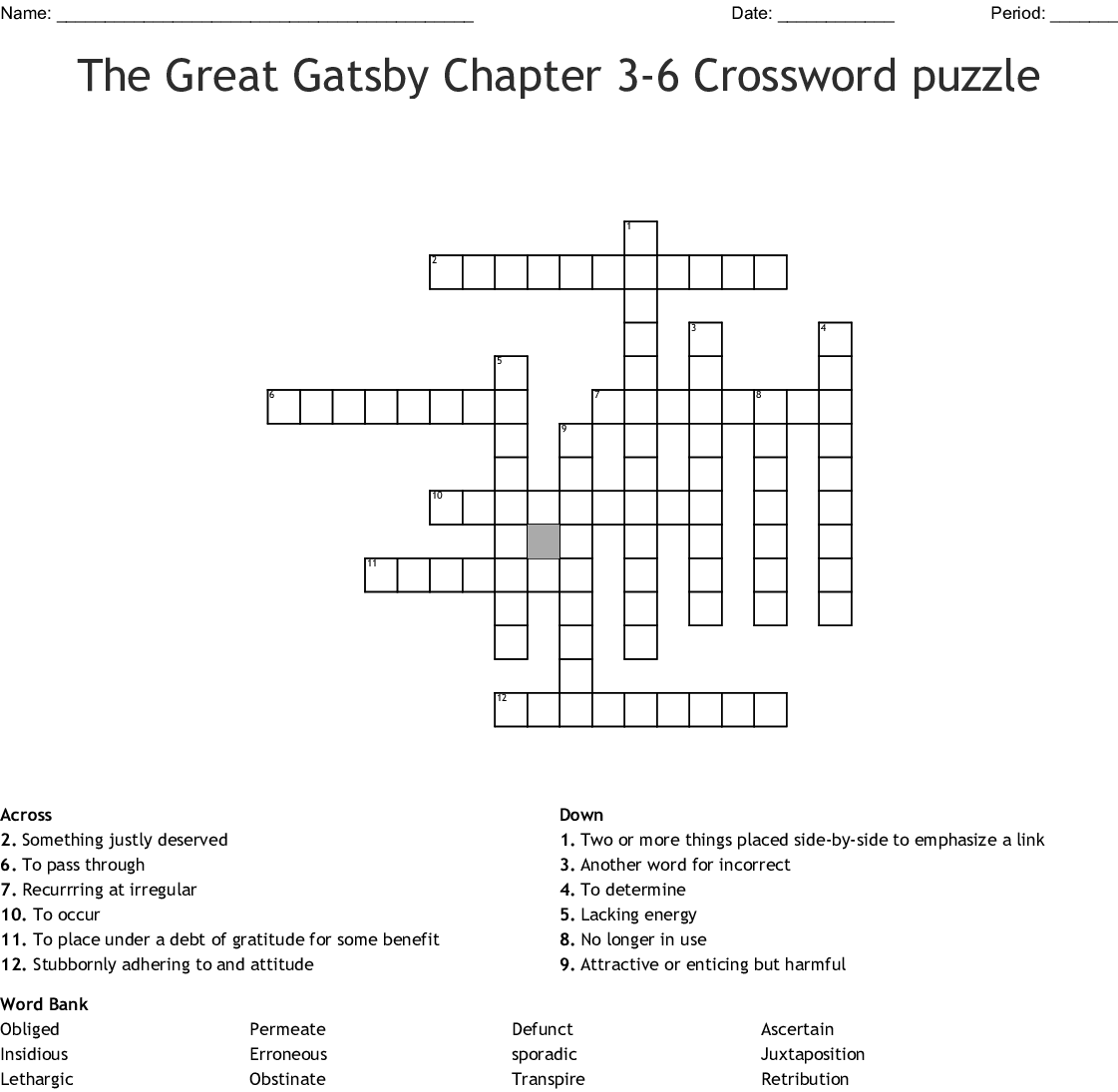 The Great Gatsby Chapter 3 6 Crossword Puzzle Crossword