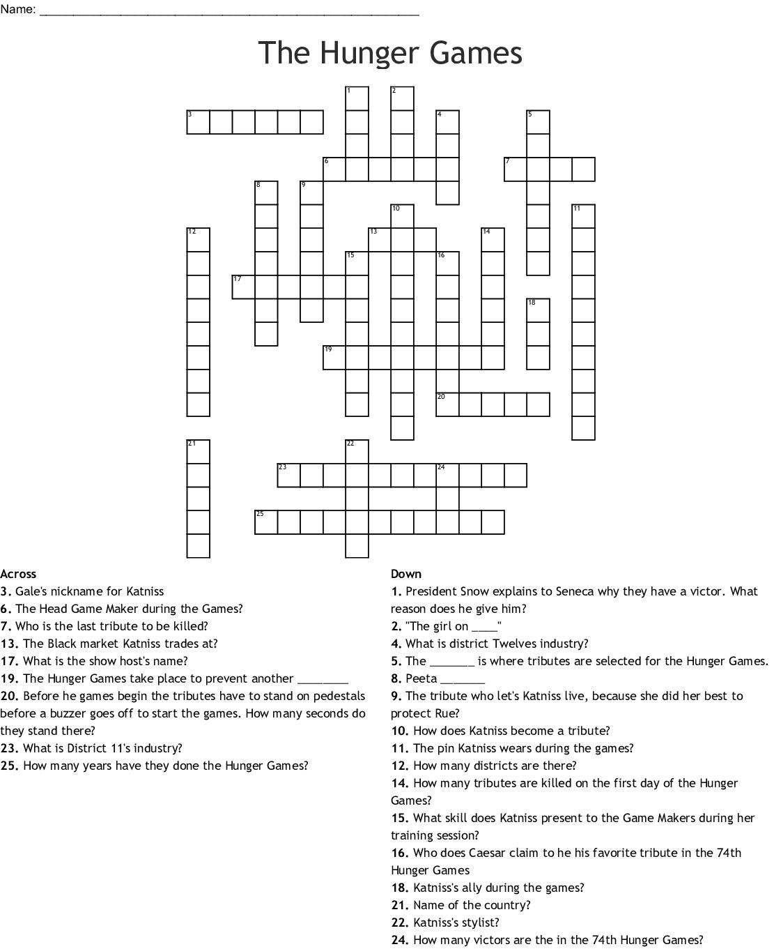 The Hunger Games Crossword