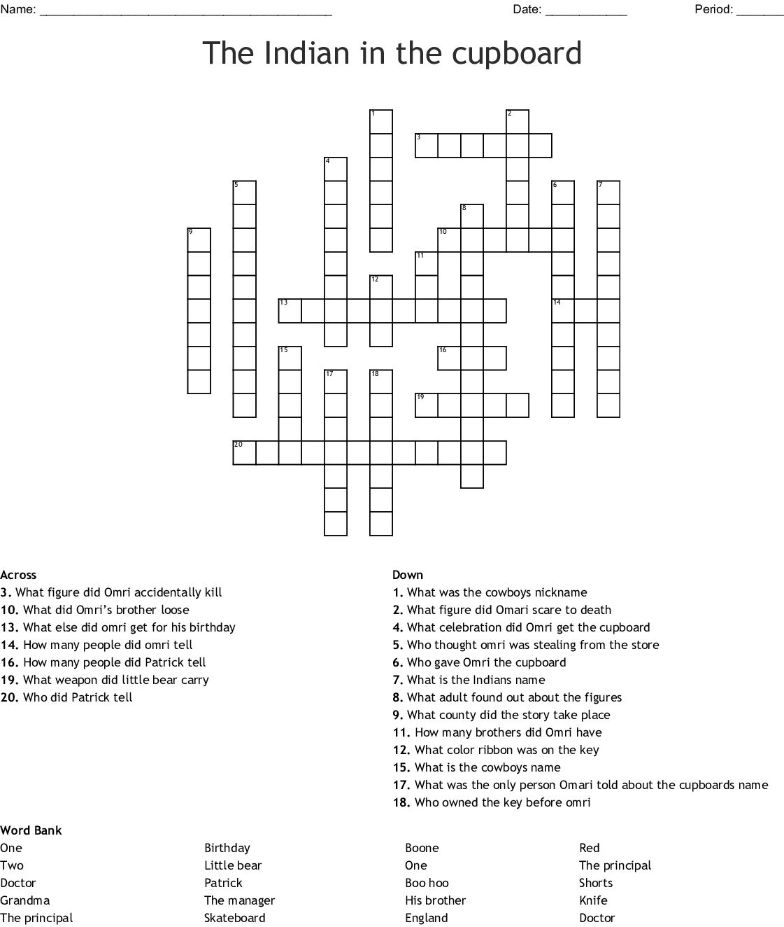 The Indian In The Cupboard Crossword