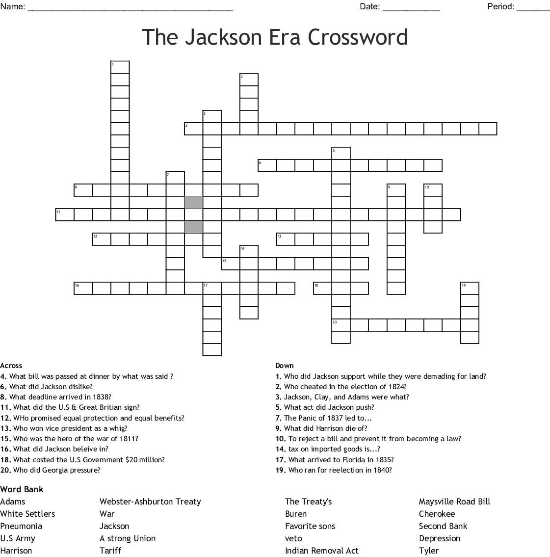 The Jackson Era Crossword