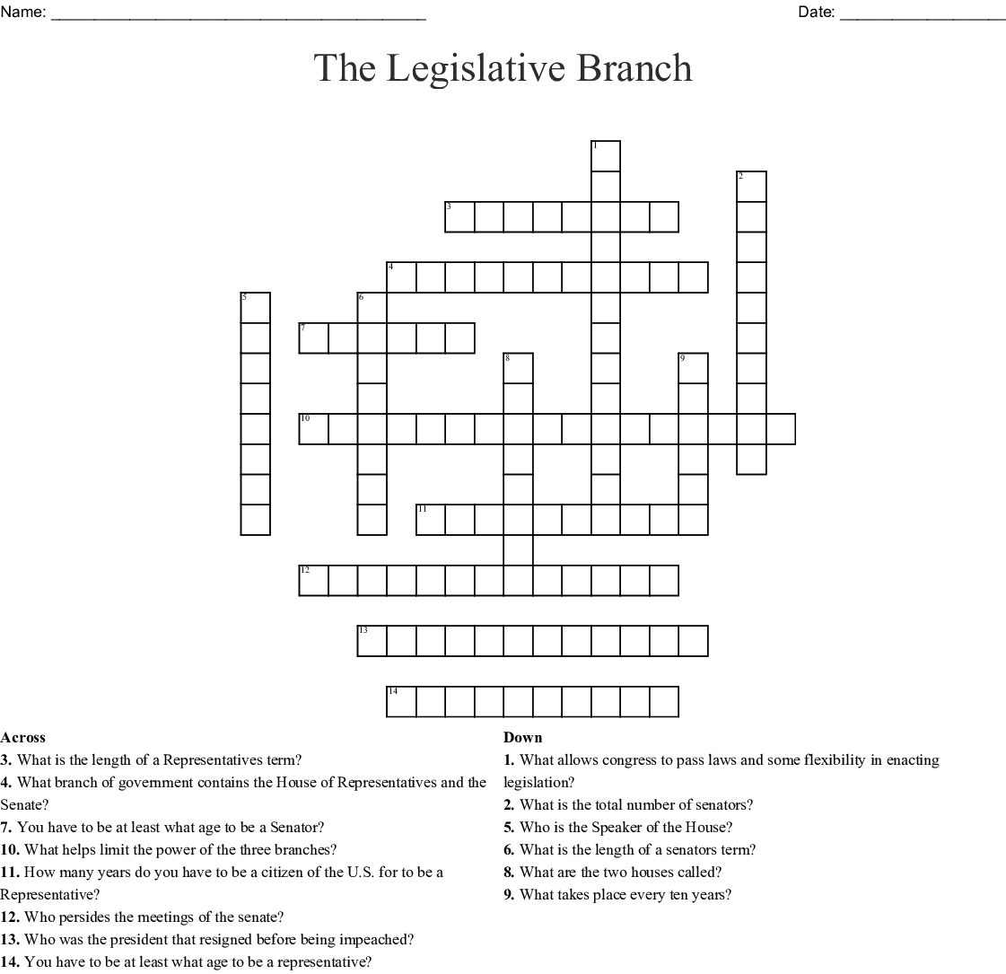 The Legislative Branch Crossword