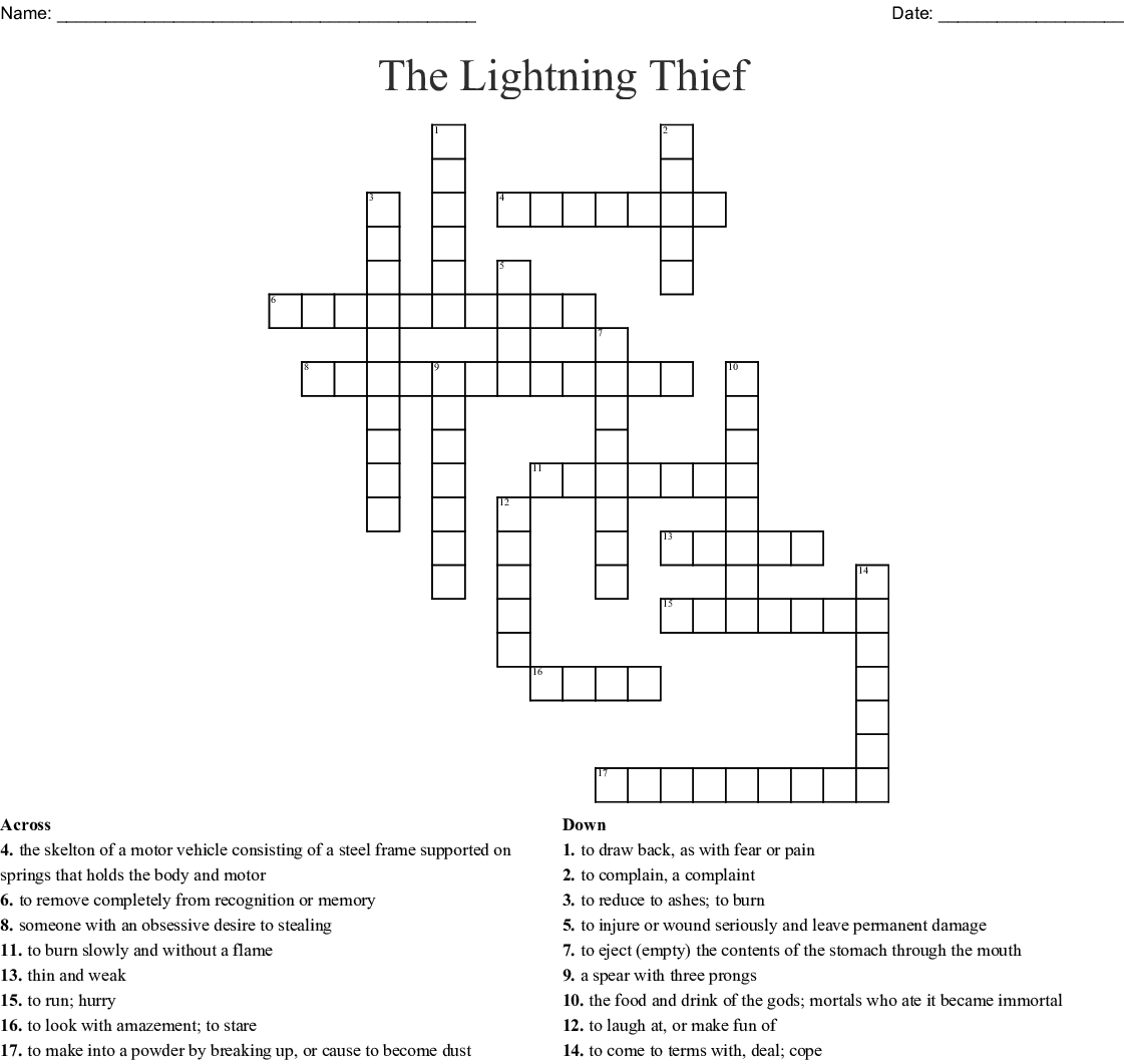 The Lightning Thief Crossword Puzzle
