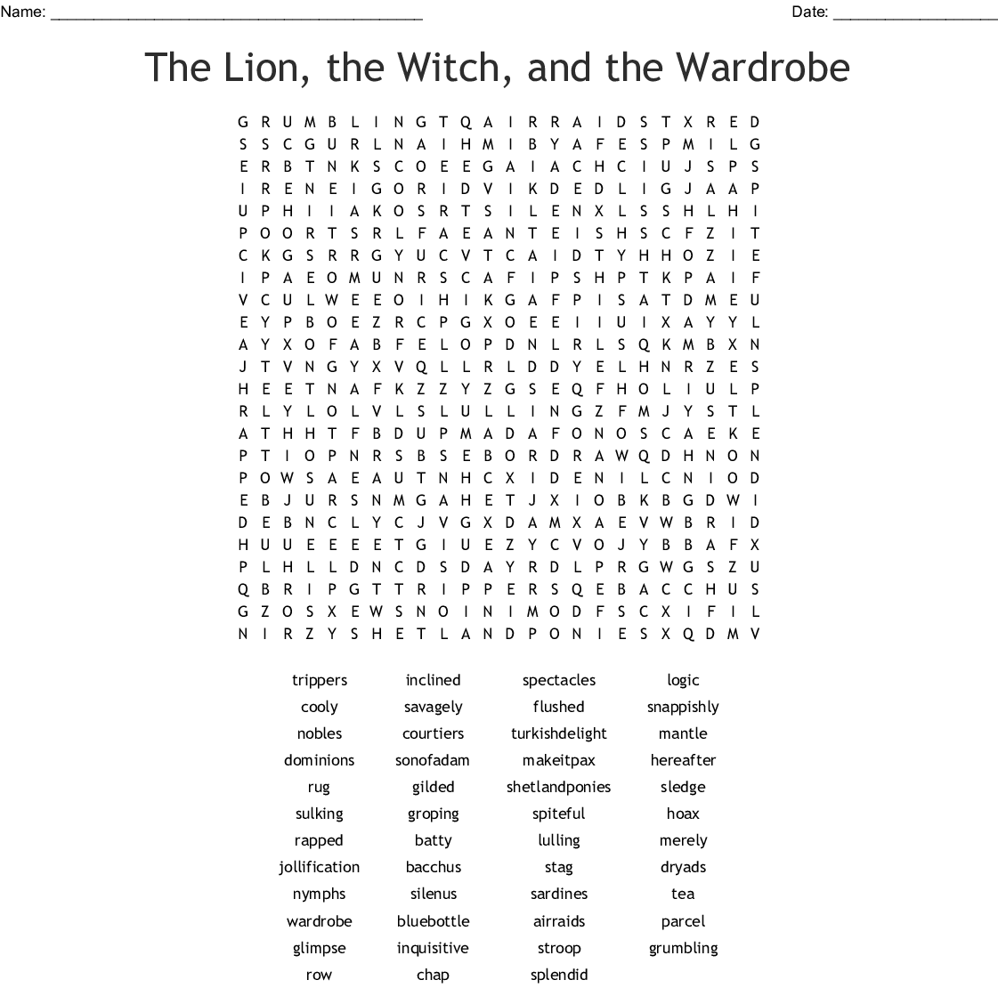 The Lion. the Witch. and the Wardrobe Ch. 1-7 Vocabulary TEST Worksheet - WordMint