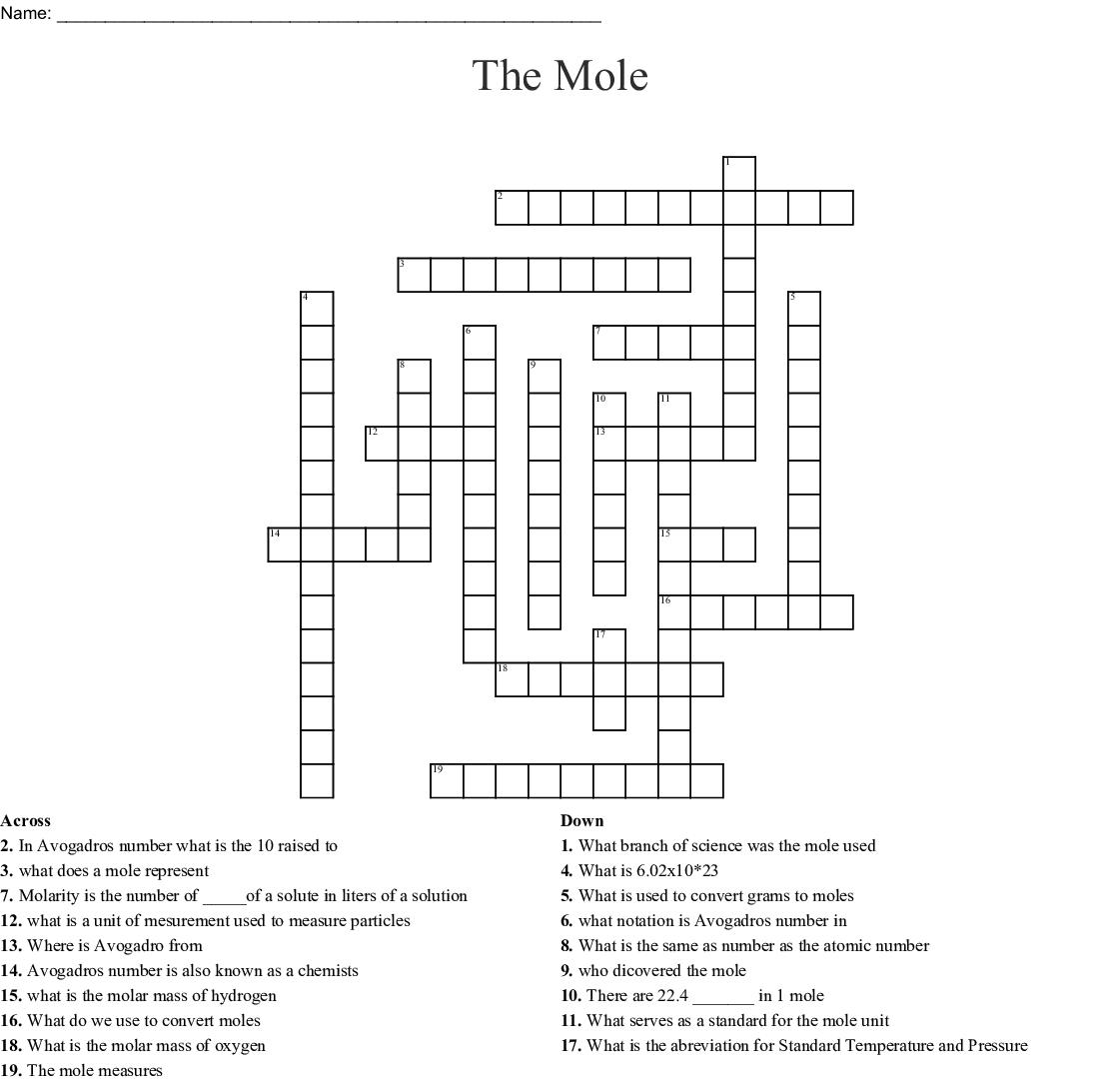 Mole Day Crossword Puzzle