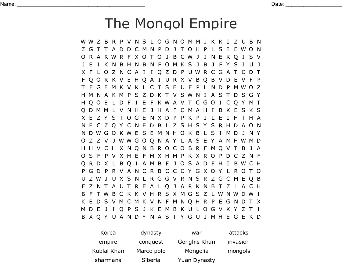 The Mongol Empire Word Search