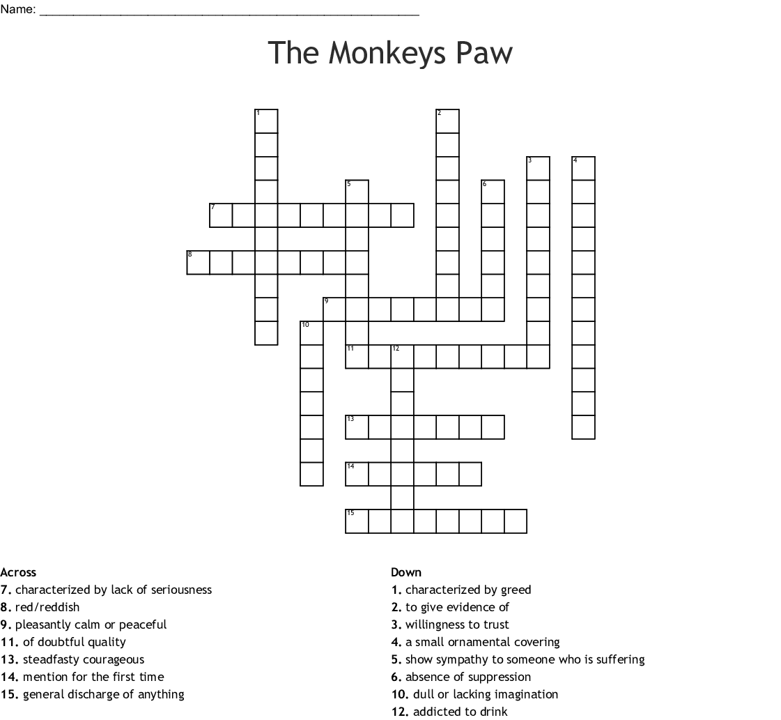 The Monkey S Paw Crossword