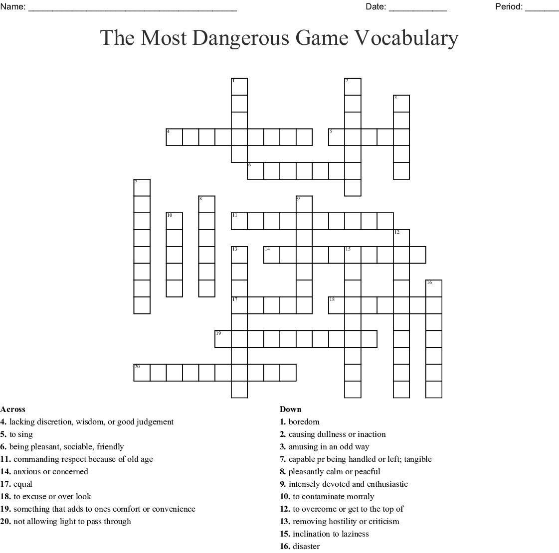 The Most Dangerous Game Vocabulary Worksheet