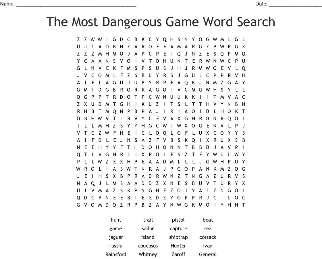 The Most Dangerous Game Literaryysis Worksheet