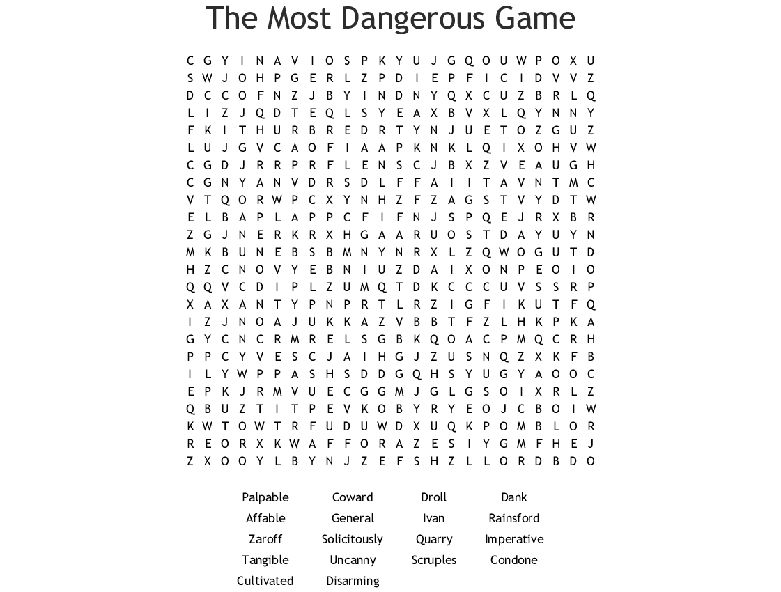 The Most Dangerous Game Vocabulary Crossword