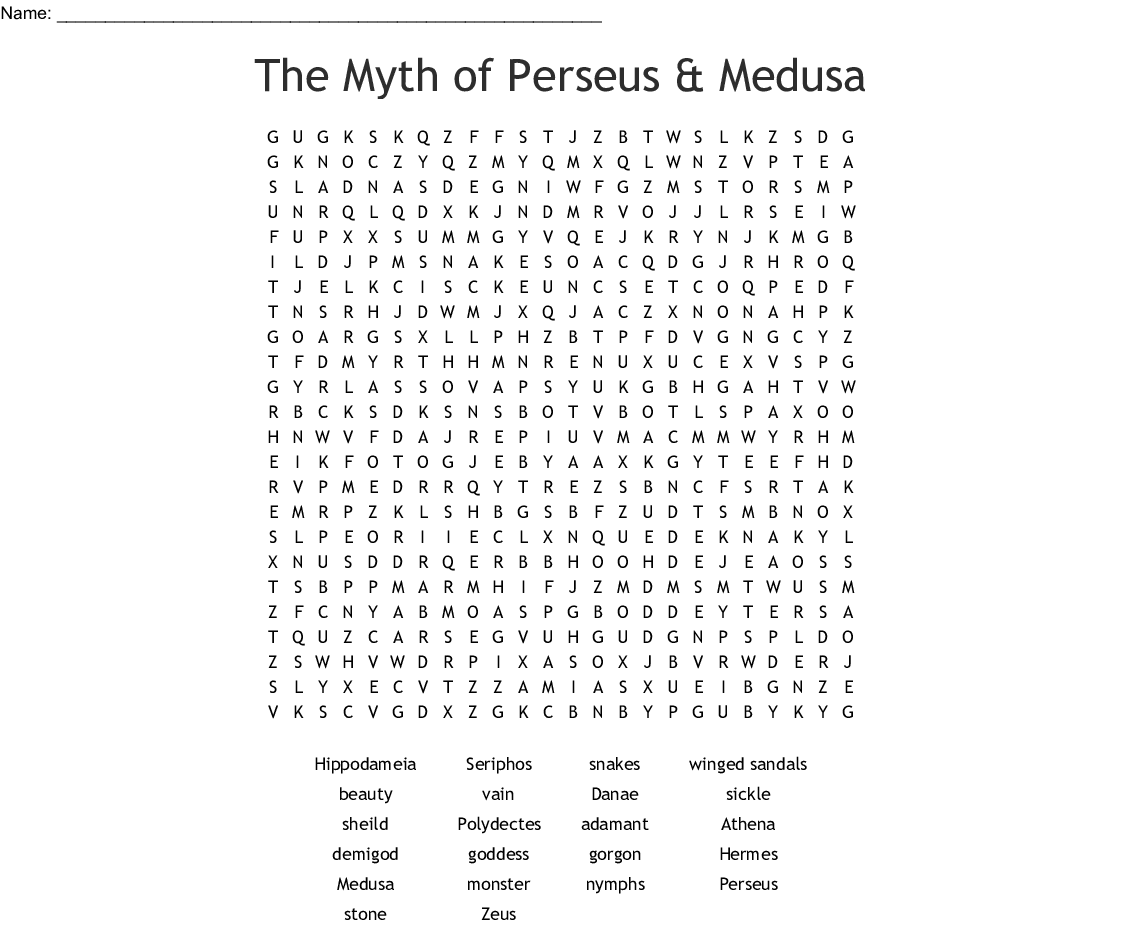The Myth Of Perseus Amp Medusa Word Search