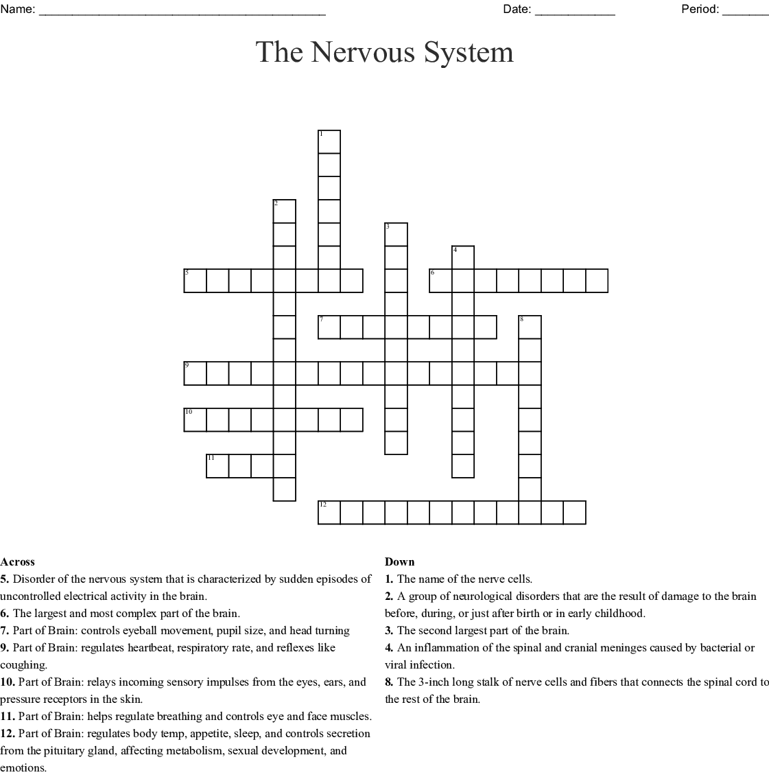 Worksheet On Endocrine And Nervous System Crossword