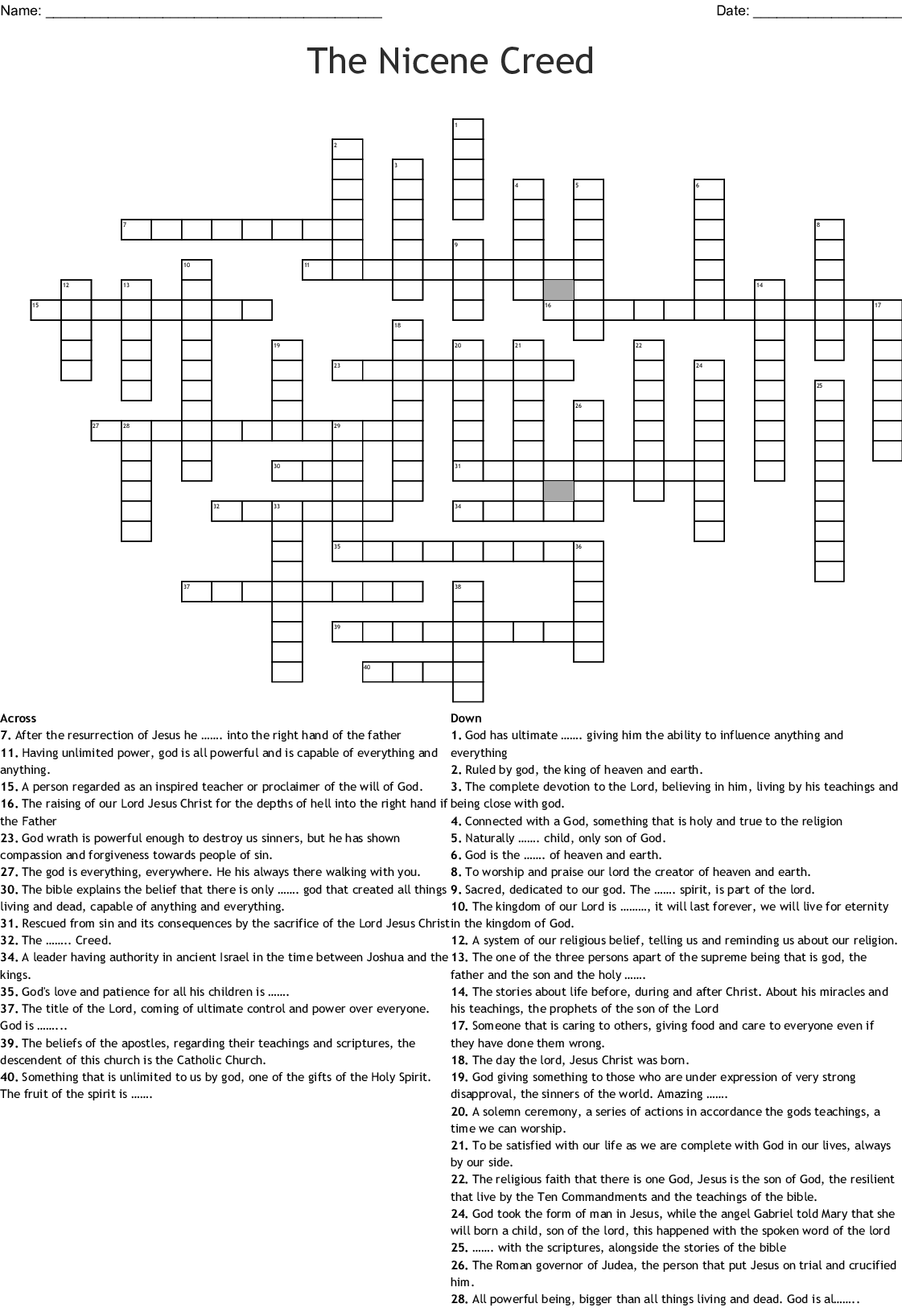 Works Of Mercy Word Search