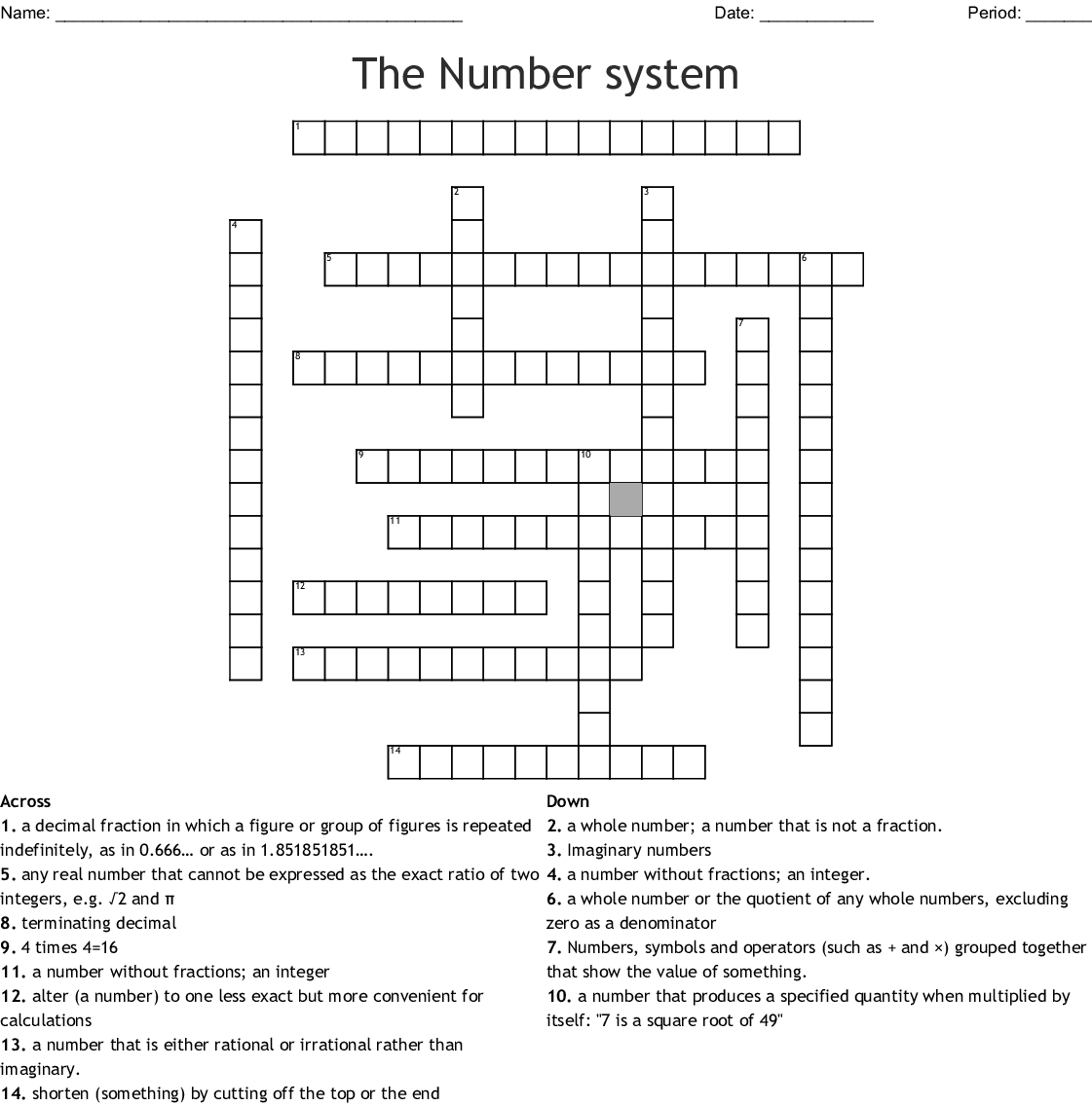 Place Value Crossword Puzzle