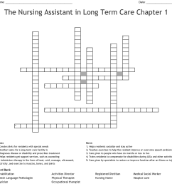 the nursing assistant in long term care chapter 1 crossword [ 1121 x 1145 Pixel ]