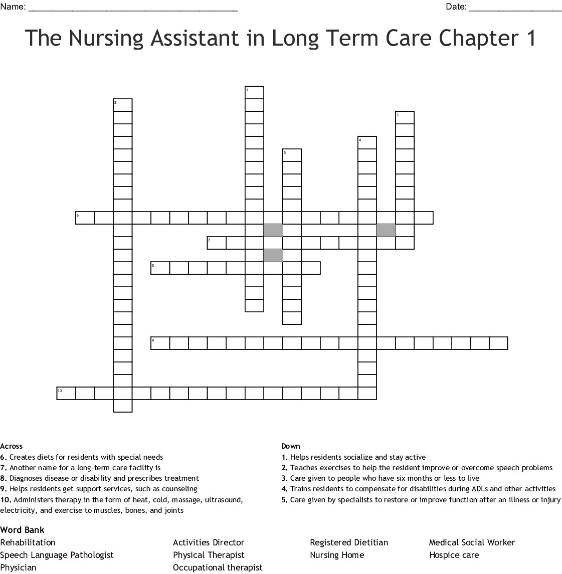 hight resolution of the nursing assistant in long term care chapter 1 crossword