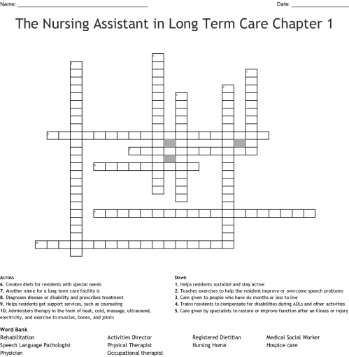 small resolution of the nursing assistant in long term care chapter 1 crossword