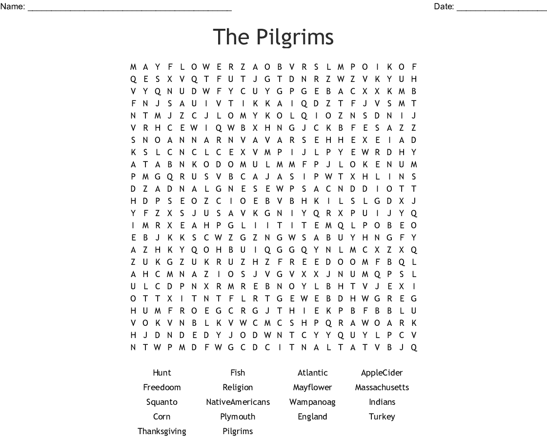 The Pilgrims Word Search