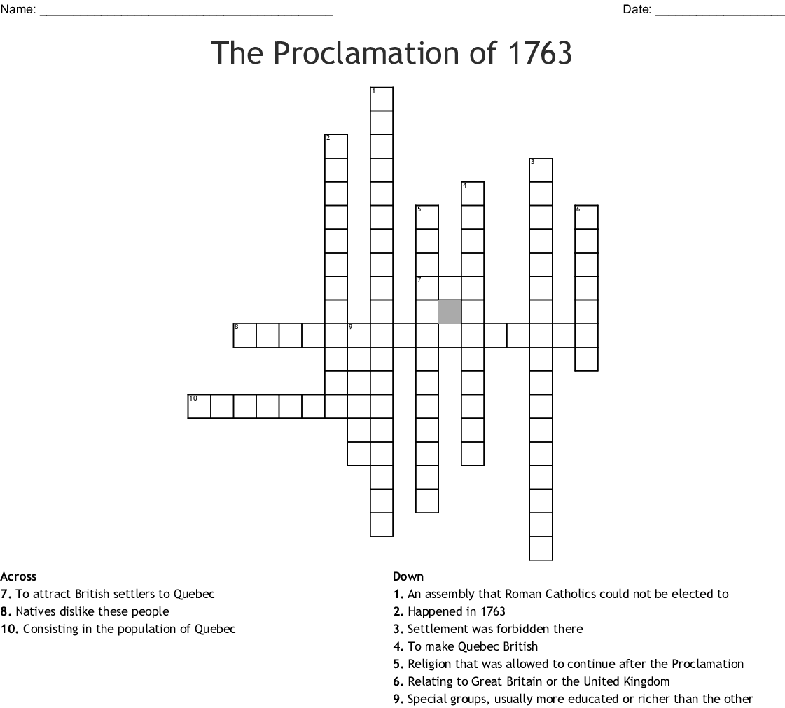 The Proclamation Of Crossword