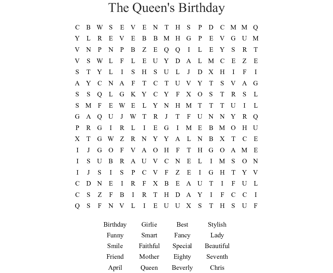 The Queen S Birthday Word Search