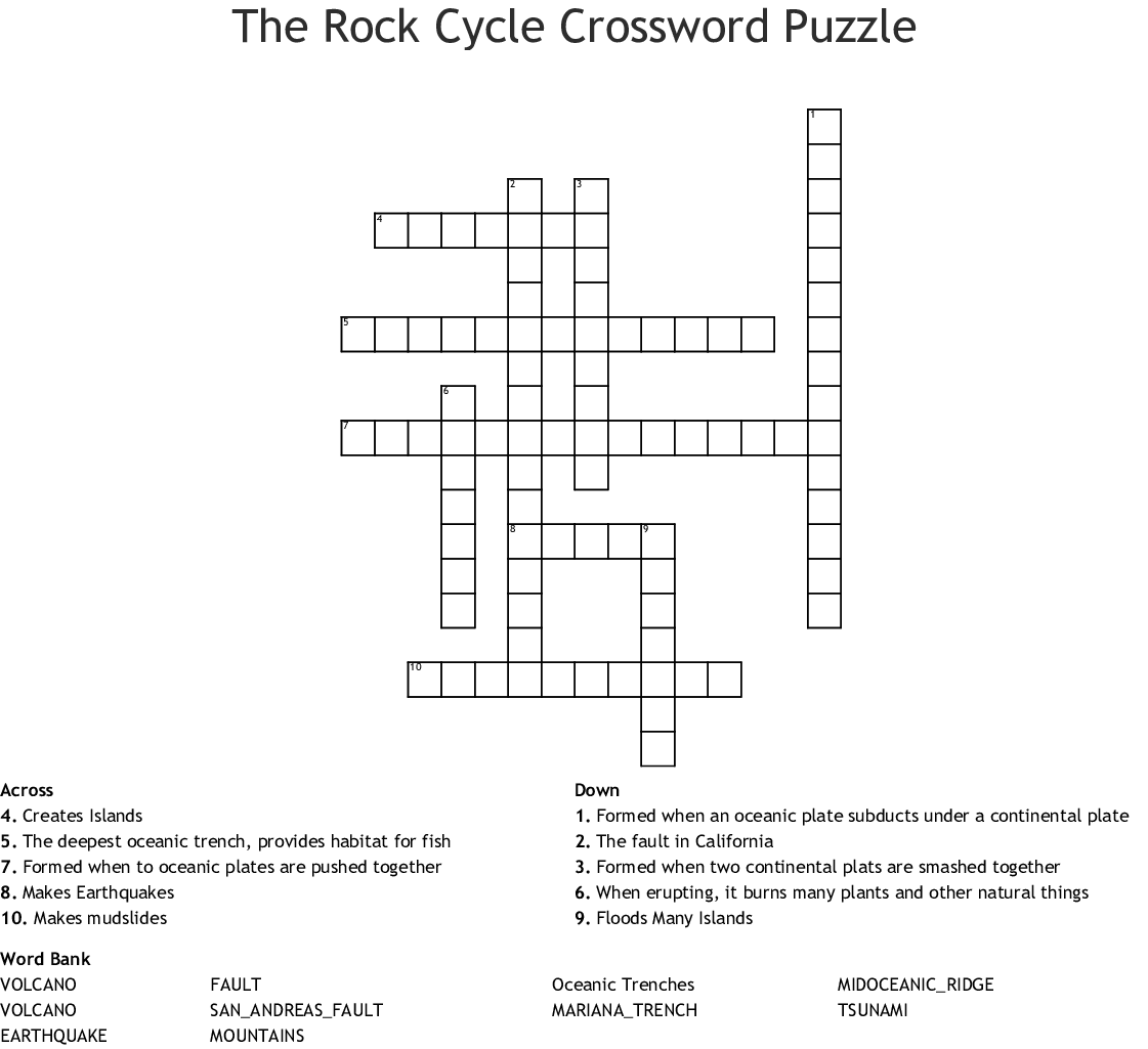 The Rock Cycle Crossword Puzzle - WordMint
