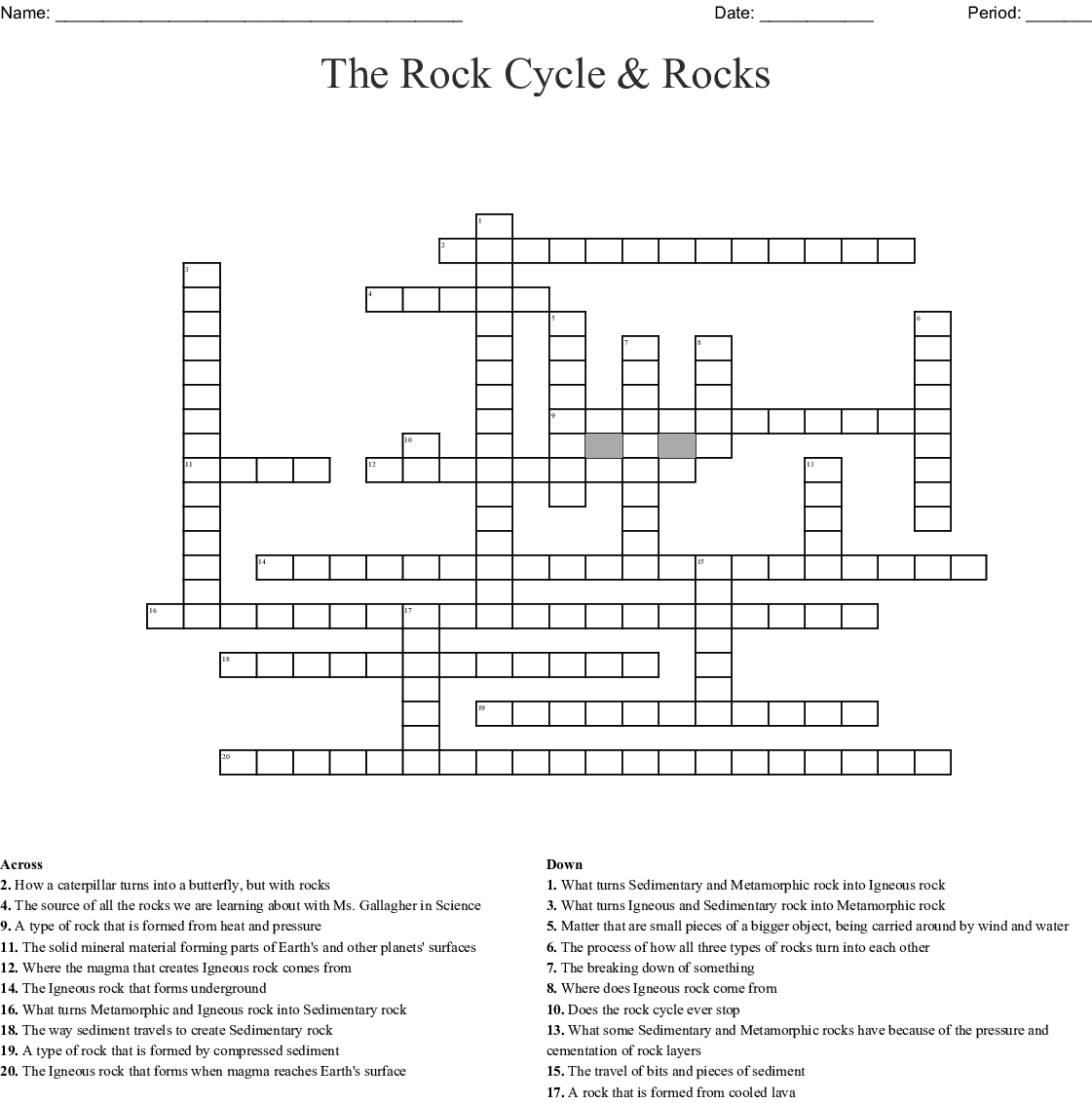 THE ROCK CYCLE Word Search - WordMint
