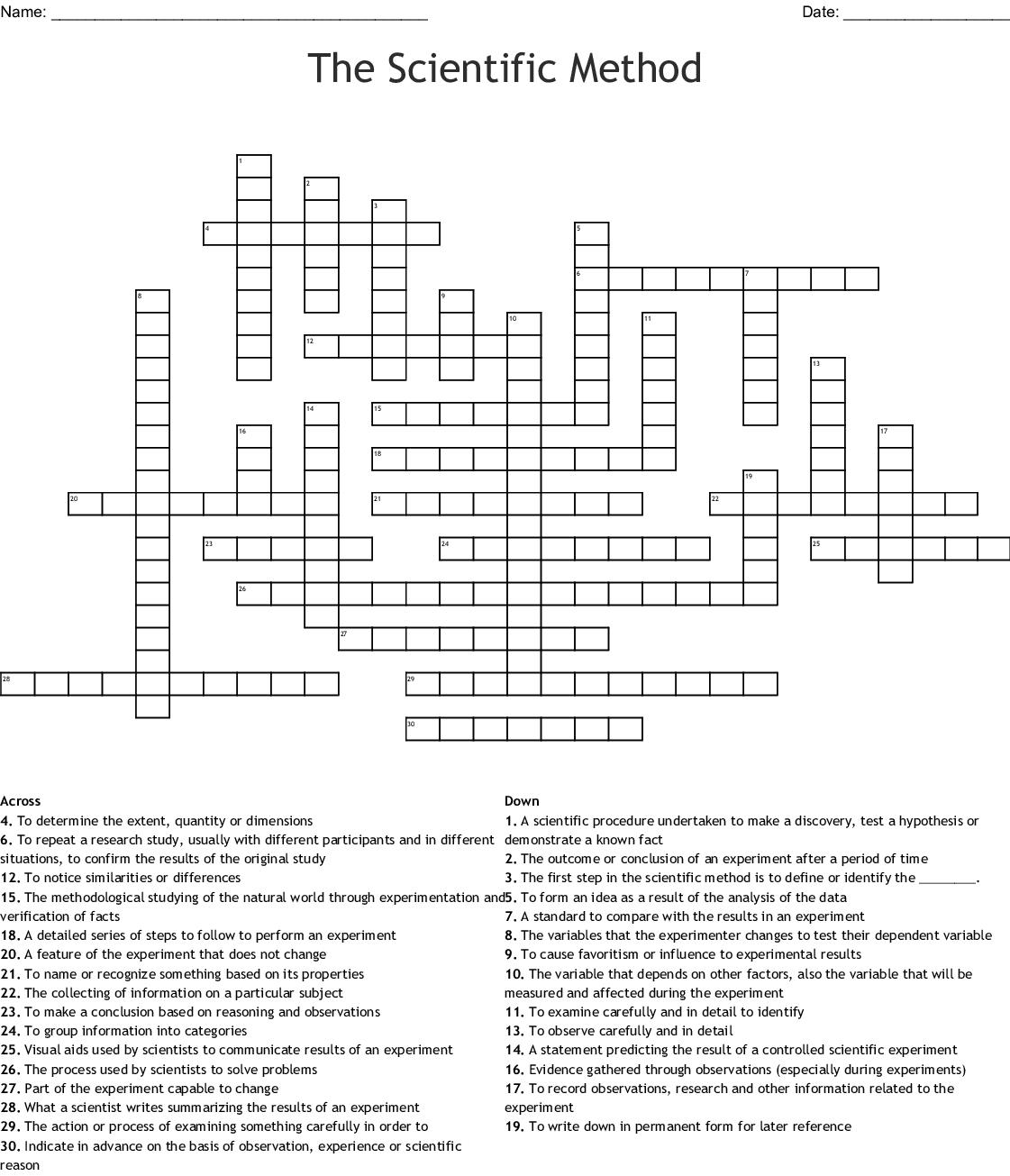 The Scientific Method Crossword