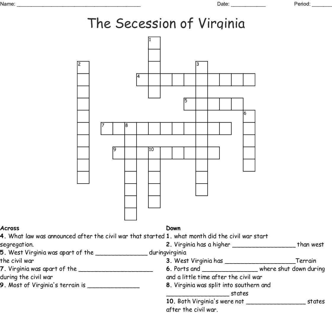 The Secession Of Virginia Crossword