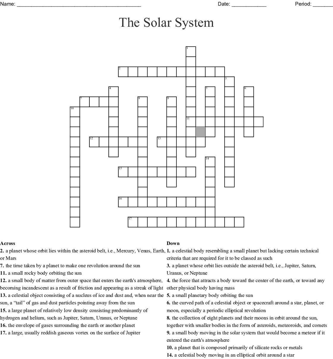 Solar System Crossword
