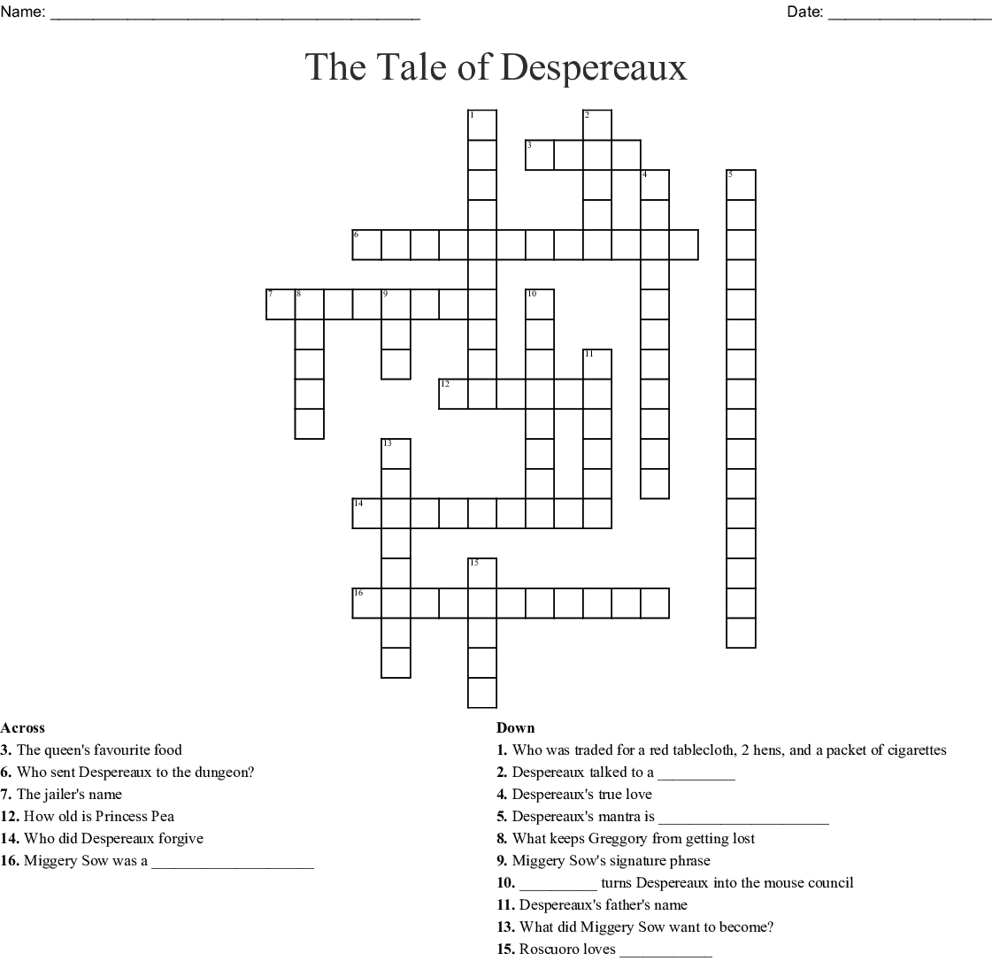 The Tale Of Despereaux Crossword