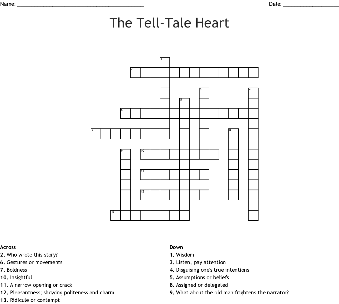A Tell Tale Heart Vocabulary Crossword
