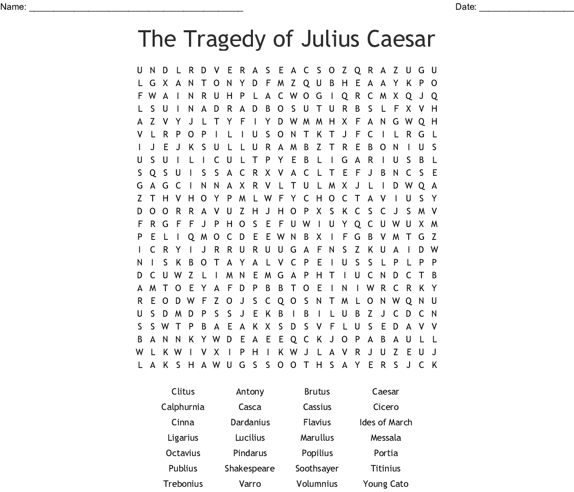 The Tragedy Of Julius Caesar Word Search