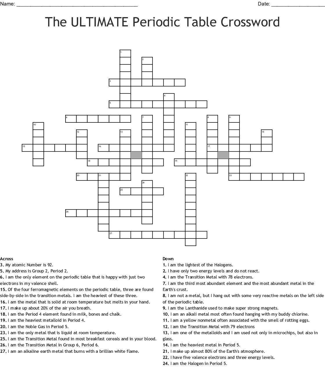 Chemistry Crossword Puzzle