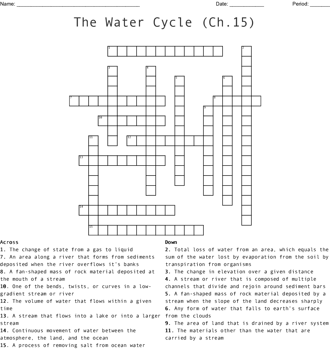 The Water Cycle Ch 15 Crossword