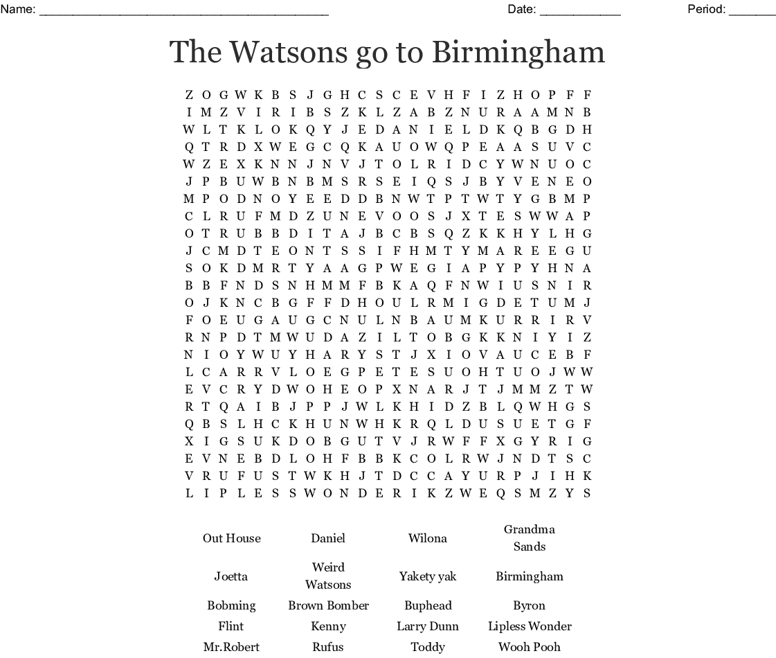 The Watsons Go To Birmingham Word Search