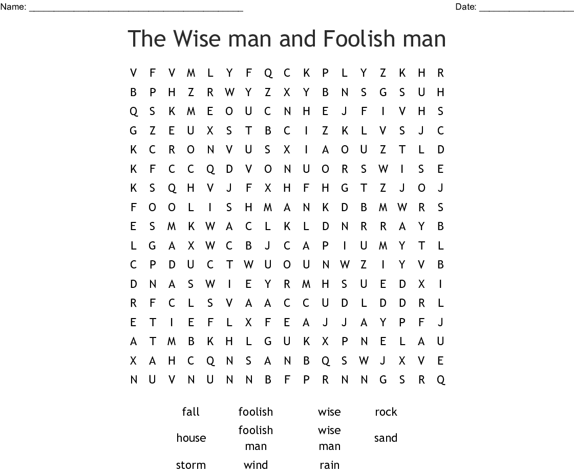 The Wise Man And Foolish Man Word Search