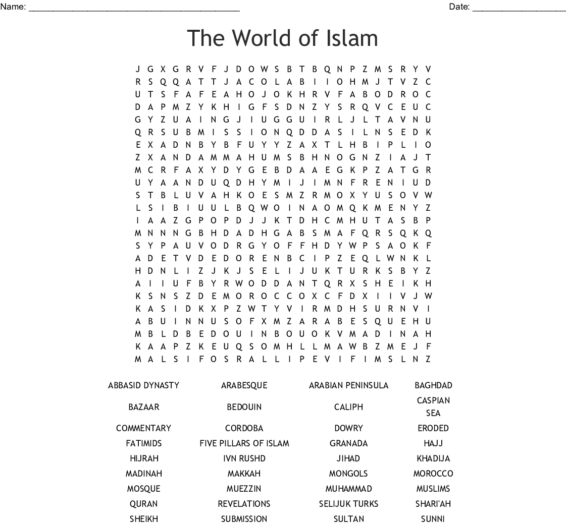The World Of Islam Word Search